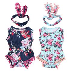 6.01AUD - Newborn Baby Girls Floral Kids Romper Jumpsuit Bodysuit Outfit Sunsuit Clothes #ebay #Home & Garden