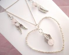 £11.50 Keepsake Memorial Necklace and Earring set with Rose by Onuava