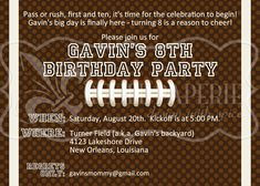 Football birthday invitation sports theme birthday party football birthday invitation sports theme birthday party invitation with free thank you card ideas for cassicaybren pinterest football birthday stopboris Image collections