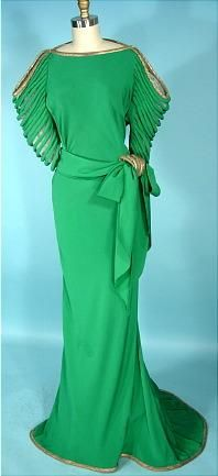 Emerald green 1930s gown