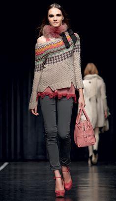 TWIN-SET Simona Barbieri: jacquard sweaterd and fur collar