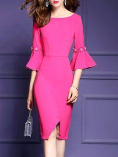 7d6eacb0780c Shop Midi Dresses - Elegant Bell Sleeve Sheath Dress online. Discover  unique designers fashion at · Večerné ŠatyFormálne ...