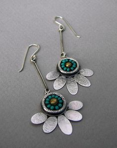 Long, dangle sterling-silver and turquoise seed-bead lotus flower earrings
