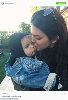 Her heart: Also on Thursday, Kendall Jenner shared an Instagram where she was kissing nephew Reign, saying she was 'missing family'