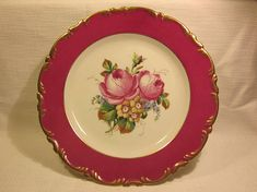 """Antique Fischer & Mieg of Pirkenhammer, Bohemia Hand Painted Peonies, red rim with gilt 9 1/2"""" Plate"""