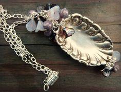 Vintage Spoon Necklace - Shabby Chic - Romantic - Spoon Jewelry - Silverware Jewelry - Silverware Necklace - Purple - Czech Glass Flowers