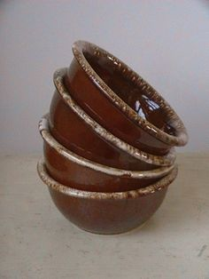 Hull Pottery Brown Drip Glaze Cereal Bowls Set of Four by nddevens, $26.00