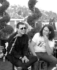 Candid Photo: My Chemical Romance. Interview & acoustic performance in the 98.7FM Penthouse at the Hollywood Tower Hotel, Los Angeles, Ca, on 21 January 2011. Frank Iero and Ray Toro.