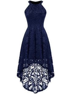Dressystar 0028 Halter Floral Lace Cocktail Party Dress Hi-Lo Bridesmaid Dress M Navy - Bridesmaid dresses Navy Bridesmaid Dresses, Grad Dresses, Plus Size Maxi Dresses, Summer Dresses, Navy Lace Dresses, Dresses Dresses, Dress Prom, Spring Formal Dresses, Burgundy Bridesmaid