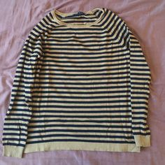 Camel and navy stripped crew neck sweater MNG basics camel and navy striped knit sweater size M great condition, worn twice. A nice light knit. Bundle for 20% off! MNG Sweaters Crew & Scoop Necks