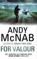 For Valour by Andy McNab. When a young trooper is shot in the head at the Regiment's renowned Killing House, Nick Stone is perfectly qualified to investigate the mysterious circumstances more deeply. He has just returned from Moscow, so combines an unrivalled understanding of the Special Forces landscape with a detachment that should allow him to remain in cover.