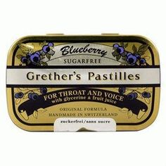 Blueberry Sugar Free 3.75 oz by Grether's Pastilles by Grether's. $15.95. Please read all label information on delivery.. 3.75oz pastilles. Country of origin: Usa. Blueberry is the latest refreshing flavor that Grether`s has to offer! The naturally pure juices of fresh blueberries lend these traditional pastilles their stunning color and unforgettable fruity aroma. Classic sugar free pastilles in the golden tin were invented around 300 years ago and today they are still being ma...