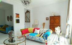 modern patchwork, jonathan adler, sofa, eclectic, livingroom, decorating