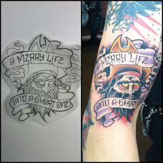 ".@vinnypxpx | ""A merry life, and a good one"" BLACK BEARD beheaded. #tattoo #pirat... | Webstagram"
