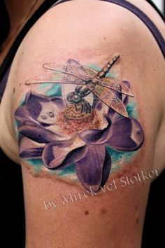 lotus with dragonfly tattoo by Mirek vel Stotker