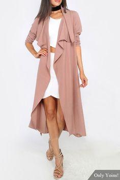 Pink Lapel Collar Buttonless Self Tie Belt Longline Trench Coat