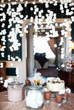 MARSHMALLOWS HANGING FROM CEILING! LOVE LOVE LOVE! GREAT DECOR ABOVE THE HOT COCOA BAR!