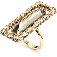 Alexis Bittar Delano Gold Skinny Baguette Ring ($195) found on Polyvore