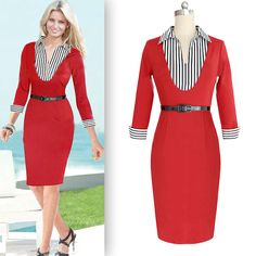 Find More Dresses Information about European & American Style Elegant Women Clothing Notched Neck Three Quarter Sleeves Striped Patchwork Solid Color Pencil Dresses,High Quality clothing fabric,China clothing taiwan Suppliers, Cheap clothing soccer from Olivia Trading Co., Ltd. on Aliexpress.com