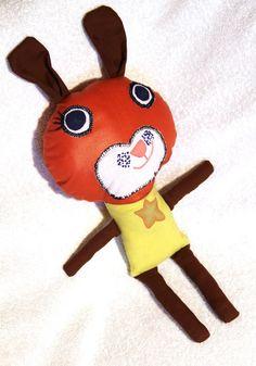 doudou lapin rigolo en coton orange et vert : Jeux, jouets par mamie-tartine