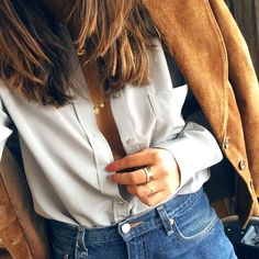 so polished! unbuttoned, white shirt with jeans and suede coat #lacooletchic.tumblr.com