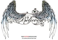 Angel Wing Tattoos For Girls On Lower Back or foot, love for a memorial tattoo