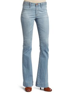 AG Adriano Goldschmied Women's Lula Flare Jean, 19 Years, 25. 11.75 oz union power stretch denim. Braided waistband detail. Vintage 19 year wash. Copper hardware and slit front pockets. Made using Ozone Technology.