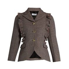 Sonia Rykiel Single-breasted ruffle-trimmed wool-tweed jacket ($402) ❤ liked on Polyvore featuring outerwear, jackets, red multi, brown wool jacket, fancy jackets, red ruffle jacket, multi coloured jacket and wool tweed jacket