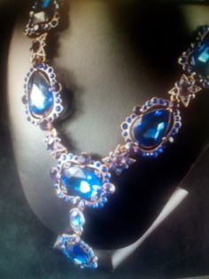 Crystal Statement Necklace/ Blue