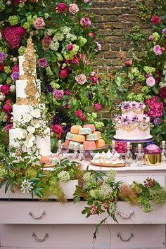 Wedding Dessert Table Idea Summer Flowers (BridesMagazine.co.uk)