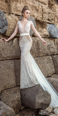 dany mizrachi 2018 bridal sleeveless deep plunging v neck full embellishment glamorous sexy sheath wedding dress open back chapel train (16) mv -- Dany Mizrachi 2018 Wedding Dresses