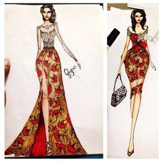 Who wore it better????#fashionillustration #art#ankaraandlace
