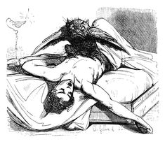 An Incubus in the Form of a Bird Perches Upon Its Helpless Victim Other <br> Note: The watermark in the image -AllPosters- will not appear on the artwork itself. Satan, Zine, Sleeping Man, Sleep Paralysis, Demon Art, Demonology, Angels And Demons, Fallen Angels, Erotic Art