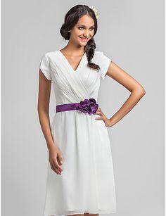 A-line V-neck Knee-length Chiffon Bridesmaid Dress With Flower(s) (736802) - GBP £ 44.05