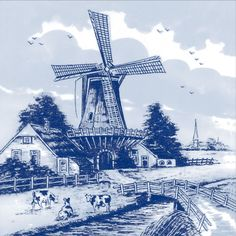 Sketch Of Old Vinetage Windmill Dutch Clip Art