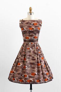 vintage 1950s dress / 50s dress / Brown Tiki Turtle Print Novelty Print Cotton Dress