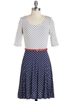 Dots More Like It Dress. Sunny skies, lunch alfresco, and this charming twofer dress? #multi #modcloth