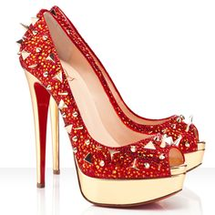 Christian Louboutin Very Mix Strass Pumps Red : Christian Louboutin Crazy Shoes, Me Too Shoes, Zapatillas Peep Toe, Christian Louboutin Heels, Louboutin Shoes, Red High Heels, Red Pumps, Red Shoes, Shoes Style