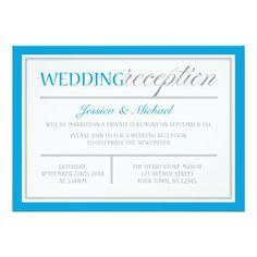 Modern Blue Gray Wedding Reception Invitation