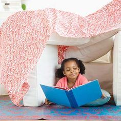 A blanket fort is perfect for sick children since it gives them a change of scenery and still provides a cozy place to catch some z's and play quietly.