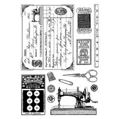 Crafty Individuals CI-328 - 'Sewing Notions' Art Rubber Stamps, 96mm x 137mm