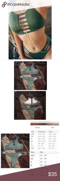 SUBMIT OFFERSNWT olive green strappy bikini PLEASE ASK IF IT WILL FIT BEFORE PURCHASING Size large but runs small, I'm a 34C and a small in pants (0-2) and this is too small for me in the chest the bottoms fit decent (I have a big butt) . Listing is for the set, OFFERS THROUGH OFFER BUTTON no trades , never worn ! (Not VS) Victoria's Secret Swim Bikinis