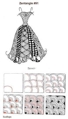 Scallops : The Zentangle® art form and method was created by Rick Roberts and Maria Thomas and is copyrighted. Zentangle® is a registered trademark of Zentangle, Inc.   sourced: http://blog.suzannemcneill.com/