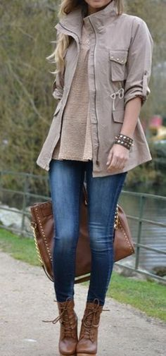 Looove this outfit for a casual Sunday! Combat boots, skinny jeans, a nice fall jacket and some accessories Casual Fall Outfits, Fall Winter Outfits, Casual Winter, Winter Style, Summer Outfits, Mode Outfits, Fashion Outfits, Womens Fashion, Outfits 2014