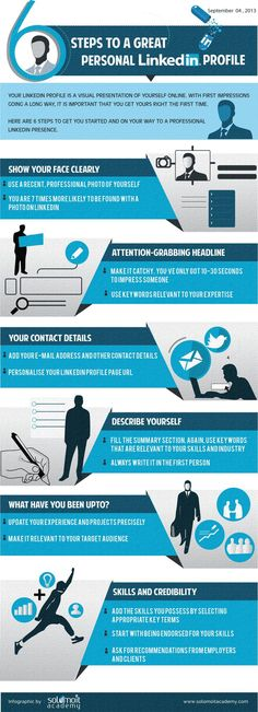 cool 6 Steps to a Great Personal LinkedIn Profile – An Infographic - solomoIT A...