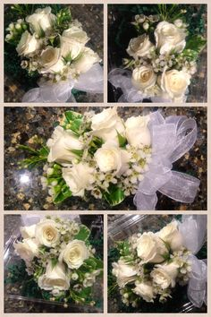 Wedding corsage (wrist) with white spray roses and waxflower