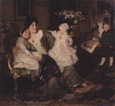 A Family Group: The Artist's Wife and Children: 'Papa Painting!', 1905 by Solomon Joseph Solomon (British 1860–1927)