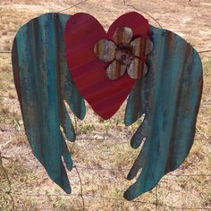 Angel wings Turquoise Corrugated tin by RustinRose on Etsy, $50.00