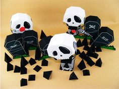 Tombstones and skulls and cemeteries are a definite thing for Halloween, and if you're into the spooky stuff now you can create your own scary scenes using paper. here are three templates to … Origami Halloween, Halloween Templates, Halloween Paper Crafts, 3d Paper Crafts, Halloween Ornaments, Diy Halloween Decorations, Paper Toys, Halloween Printable, Cardboard Crafts