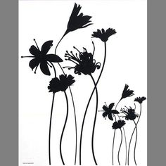 Black Blooming Flowers Self Adhesive Wall Clings: 350x0036 | Flower Wall Decals